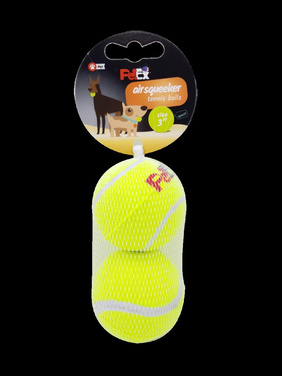 פטקס זוג כדורי טניס מצפצים לכלב במארז רשת חסכוני בגודל 3 אינץ׳ (7.62 ס״מ)
