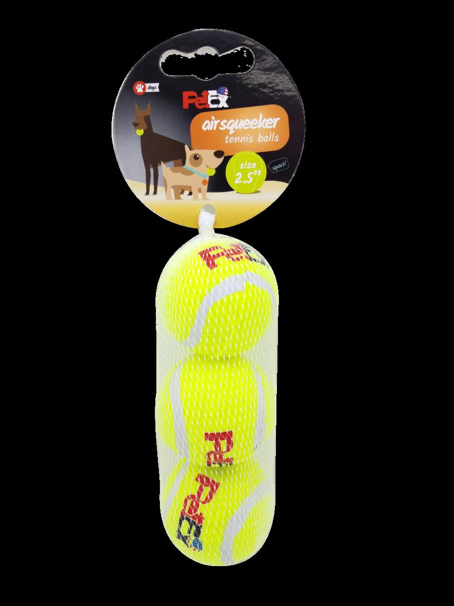 פטקס שלישיית כדורי טניס מצפצים לכלב במארז רשת חסכוני בגודל 2.5 אינץ׳ (6.53 ס״מ)