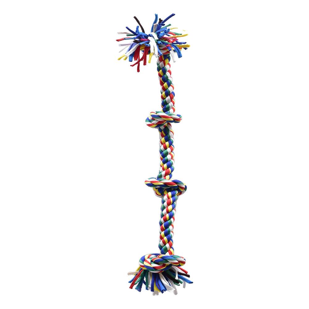 פטקס חבל משחק דנטלי צבעוני לכלב 4 קשרים מתאים לגזע גדול וענק