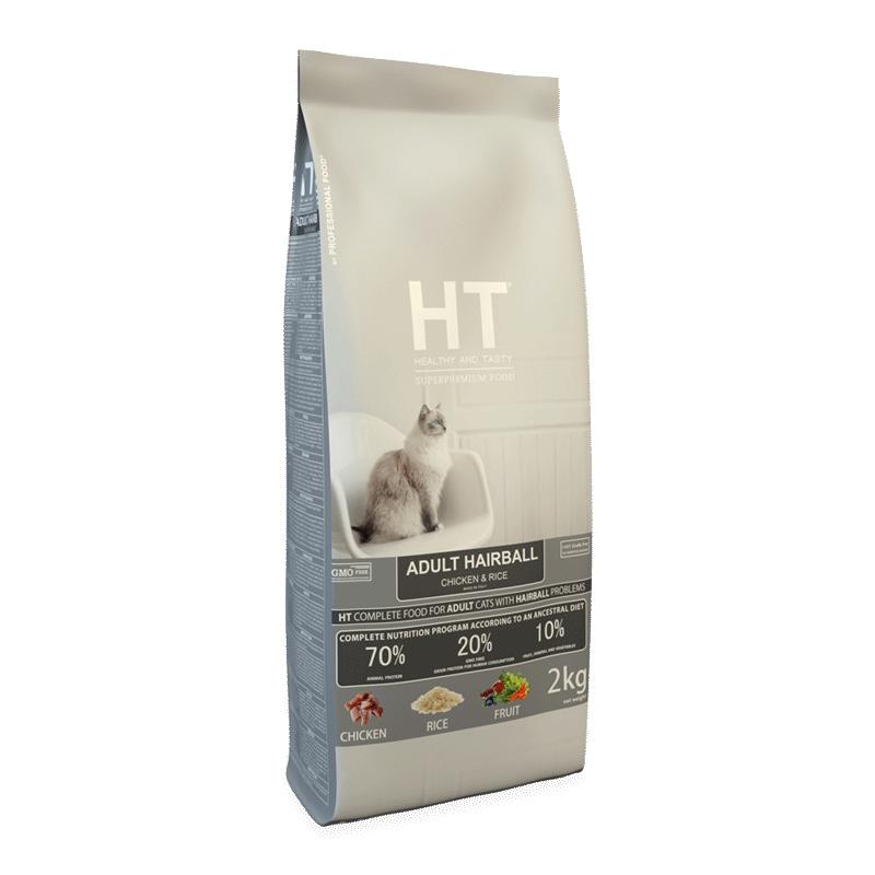 אייץ' טי – מזון יבש לחתול בוגר כדורי שיער עוף ואורז 2 קג