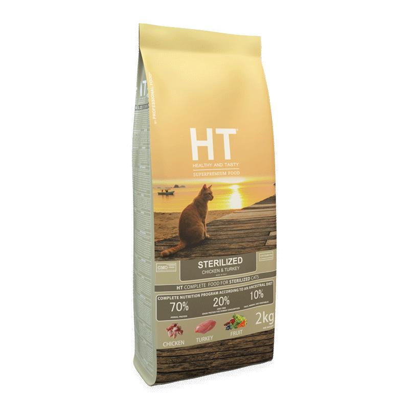 אייץ' טי – מזון יבש לחתול בוגר סטרילייז עוף והודו 2קג