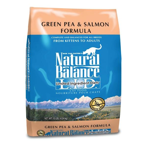 """נטורל באלנס אפונה ירוקה וסלמון מזון לחתול 4.54 ק""""ג Natural Balance Green Pea & Salmon Dry"""