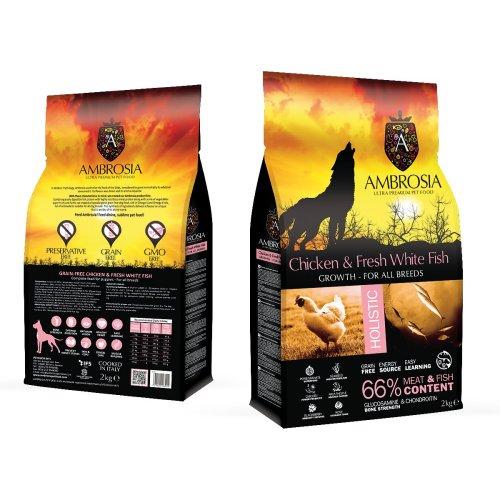 """אמברוסיה מזון לגורי כלבים גזע גדול עוף ודג לבן 12 ק""""ג ורוד אולטרה פרימיום"""