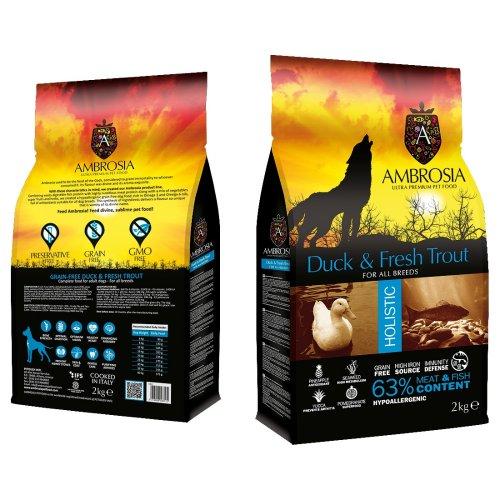 """אמברוסיה מזון לכלב בוגר ברווז ודג טרוטה  12 ק""""ג כחול אולטרה פרימיום"""