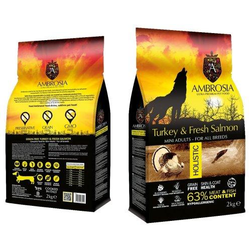 """אמברוסיה מזון לכלב בוגר מיני הודו וסלמון 2 ק""""ג צהוב אולטרה פרימיום"""
