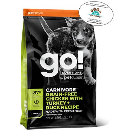 "GO – מתכון עוף, הודו + ברווז ללא דגנים לגורים 1.6 ק""ג"