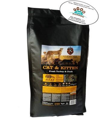 """אמברוסיה מזון לחתול גור / בוגר הודו וברווז 6 ק""""ג"""