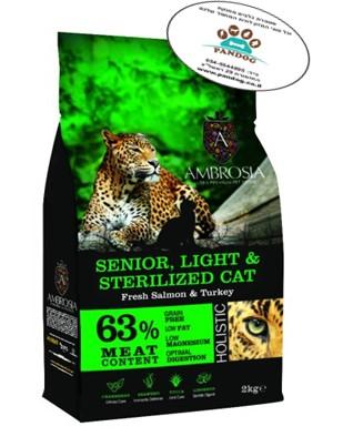 """אמברוסיה מזון חתול לייט/סניור הודו וסלמון 2 ק""""ג ירוק אולטרה פרימיום"""