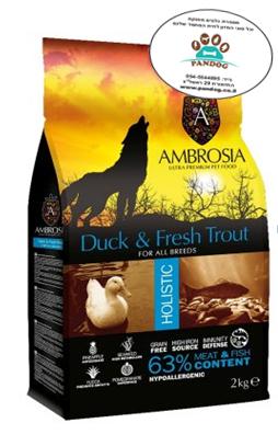 """מזון לכלב בוגר ברווז ודג טרוטה  12 ק""""ג כחול אולטרה אמברוסיה"""