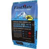 """מזון פירסט מייט ללא דגנים לכלבים מגזע קטן עוף ואוכמניות 6,6 ק""""ג תכלת"""