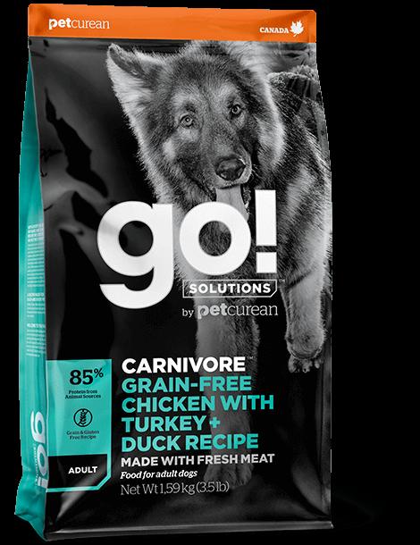 "GO – מתכון עוף, הודו + ברווז ללא דגנים לכלבים בוגרים 10 ק""ג"