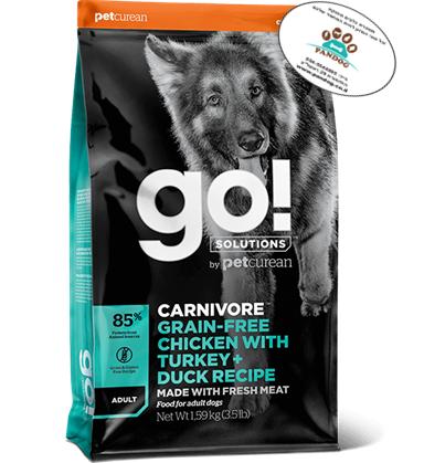 """GO –  עוף, הודו + ברווז ללא דגנים לכלבים בוגרים 1.6 ק""""ג"""