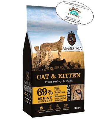 """אמברוסיה מזון לחתול גור / בוגר הודו וברווז 2 ק""""ג"""