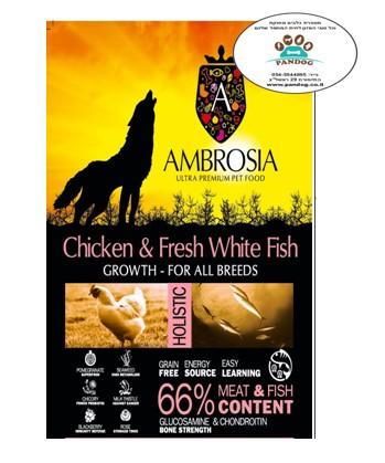 """אמברוסיה מזון לגורי כלבים גזע גדול עוף ודג לבן 6 ק""""ג- ורוד אולטרה פרימיום"""